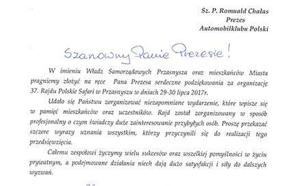 37. Rajd Polskie Safari – podziękowania